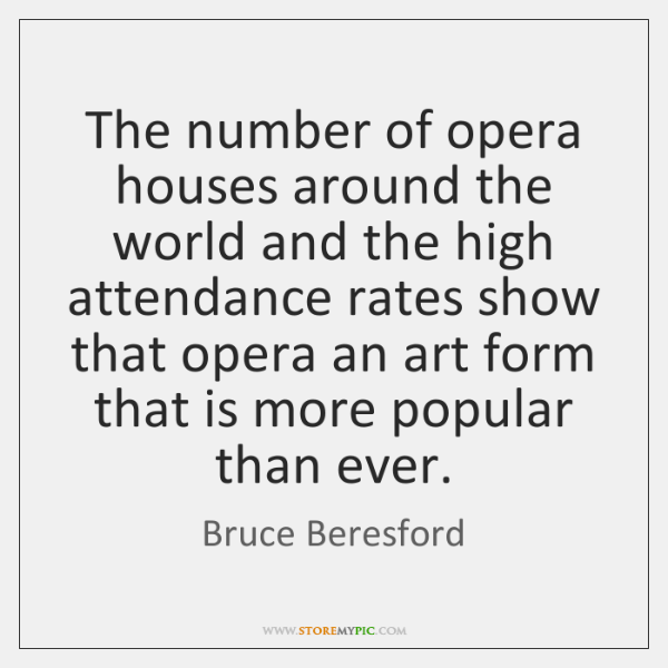 The number of opera houses around the world and the high attendance ...