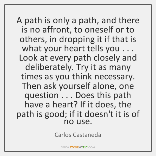 A path is only a path, and there is no affront, to ...