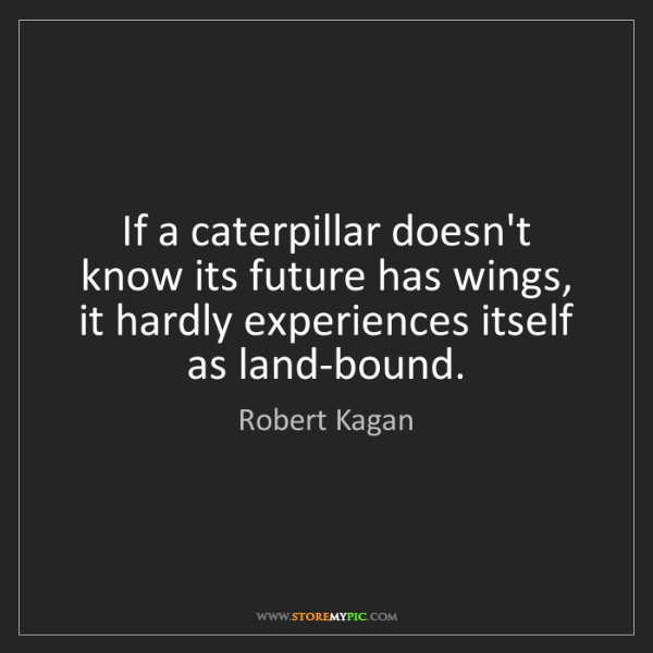 Robert Kagan: If a caterpillar doesn't know its future has wings, it...