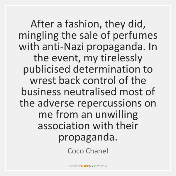 After a fashion, they did, mingling the sale of perfumes with anti-Nazi ...