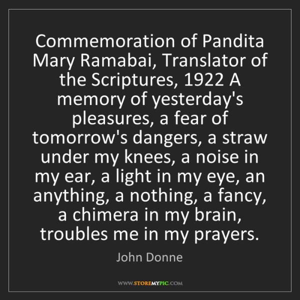 John Donne: Commemoration of Pandita Mary Ramabai, Translator of...