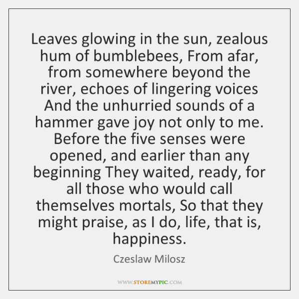 Leaves glowing in the sun, zealous hum of bumblebees, From afar, from ...