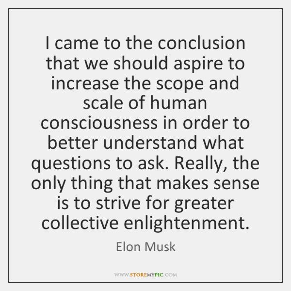 I came to the conclusion that we should aspire to increase the ...