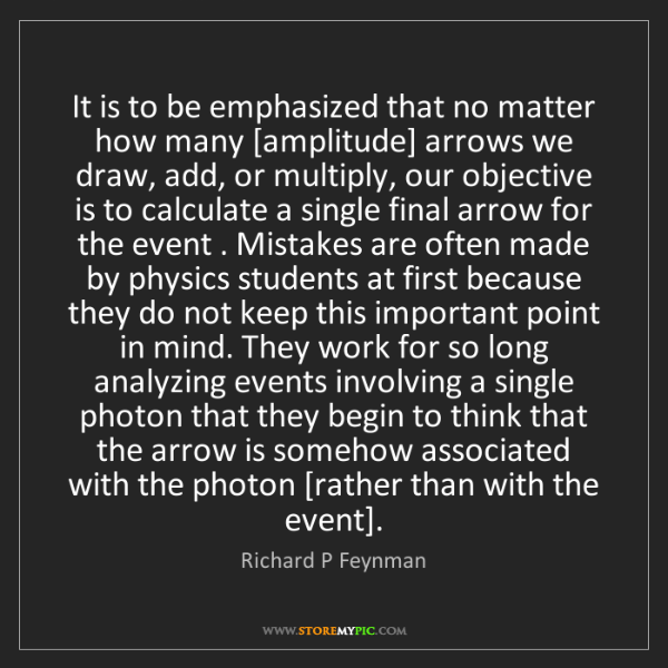 Richard P Feynman: It is to be emphasized that no matter how many [amplitude]...