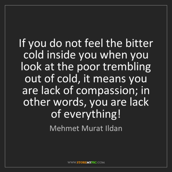 Mehmet Murat Ildan: If you do not feel the bitter cold inside you when you...