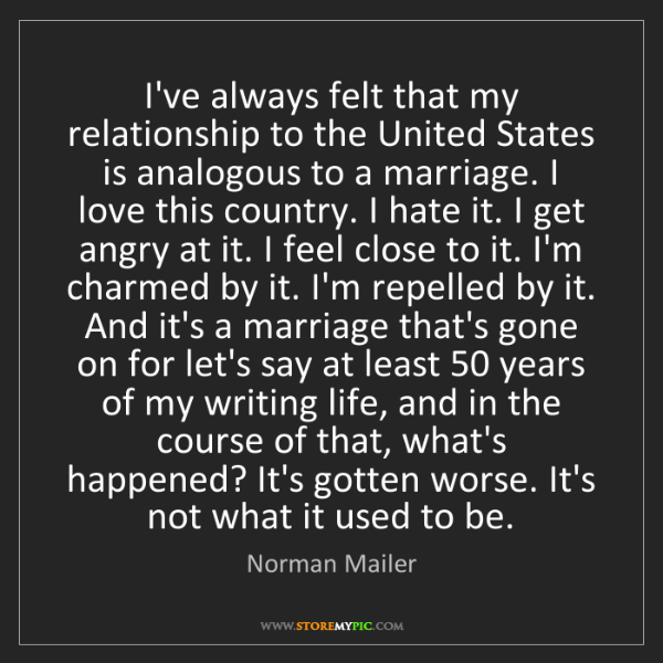 Norman Mailer: I've always felt that my relationship to the United States...