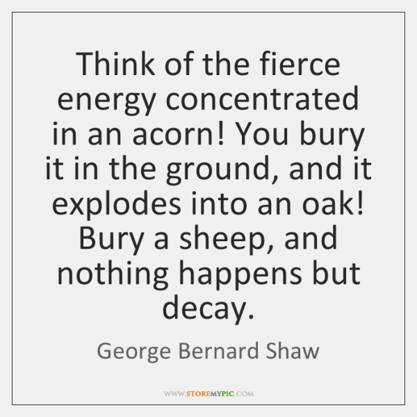 Think of the fierce energy concentrated in an acorn! You bury it ...