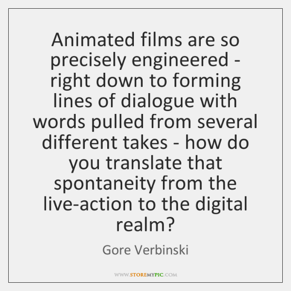 Animated films are so precisely engineered - right down to forming lines ...