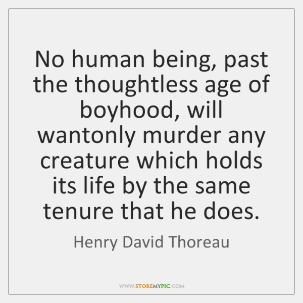 No human being, past the thoughtless age of boyhood, will wantonly murder ...