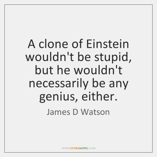 A clone of Einstein wouldn't be stupid, but he wouldn't necessarily be ...