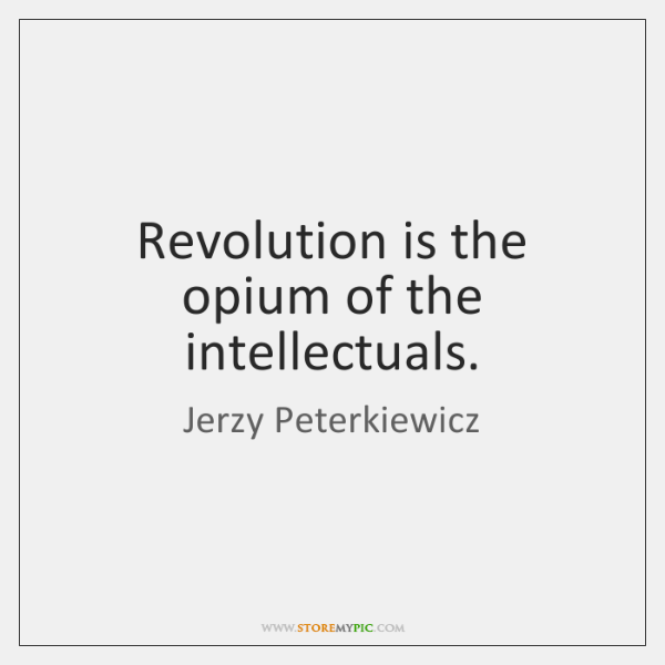 Revolution is the opium of the intellectuals.
