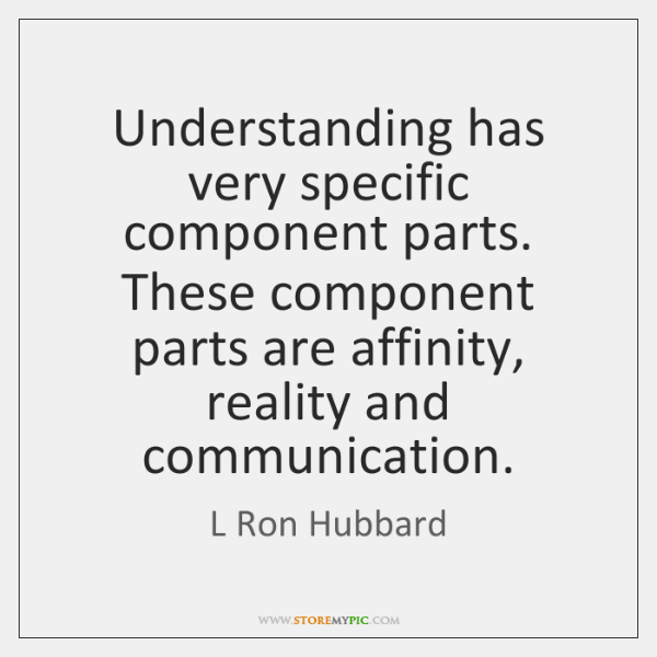 Understanding has very specific component parts. These component parts are affinity, reality ...