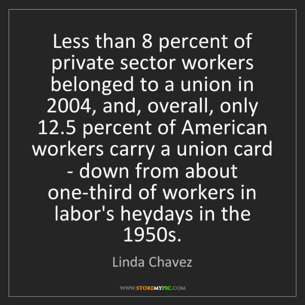 Linda Chavez: Less than 8 percent of private sector workers belonged...