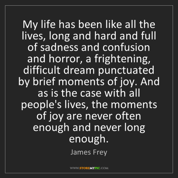 James Frey: My life has been like all the lives, long and hard and...