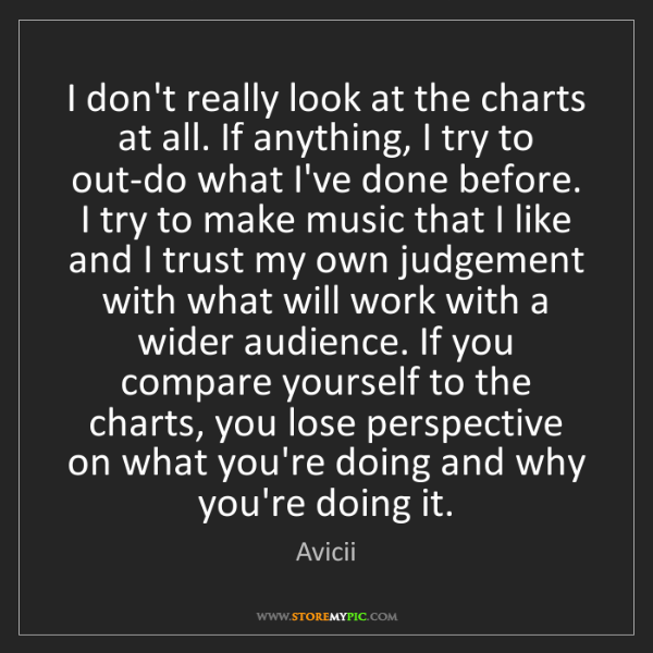 Avicii: I don't really look at the charts at all. If anything,...
