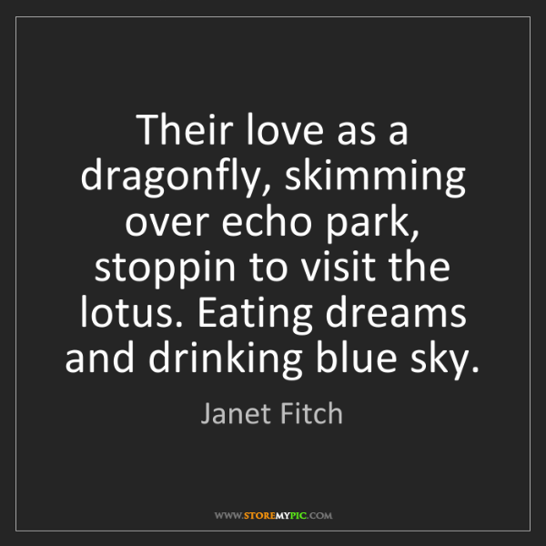 Janet Fitch: Their love as a dragonfly, skimming over echo park, stoppin...