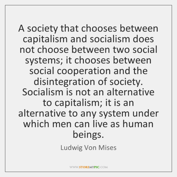 A society that chooses between capitalism and socialism does not choose between ...