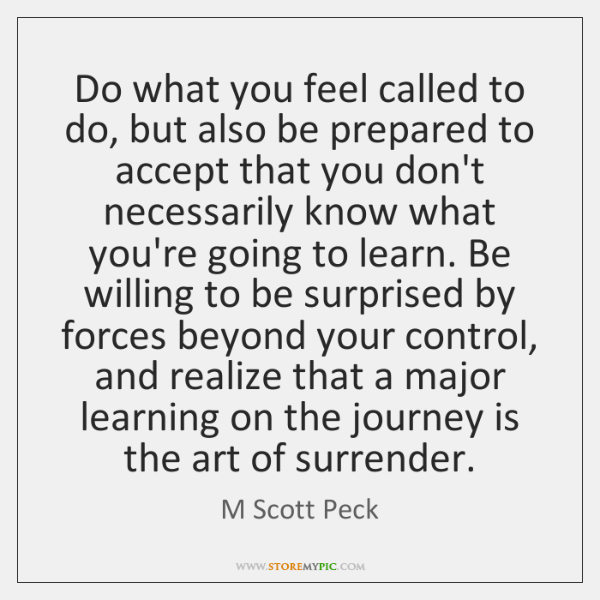 Do what you feel called to do, but also be prepared to ...