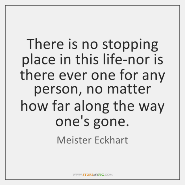 There is no stopping place in this life-nor is there ever one ...