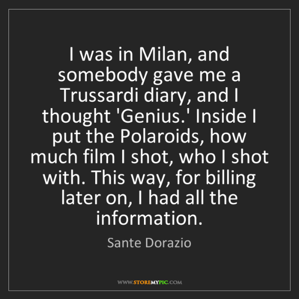 Sante Dorazio: I was in Milan, and somebody gave me a Trussardi diary,...
