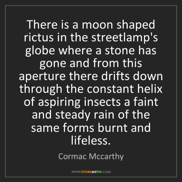Cormac Mccarthy: There is a moon shaped rictus in the streetlamp's globe...