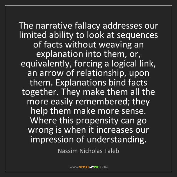 Nassim Nicholas Taleb: The narrative fallacy addresses our limited ability to...