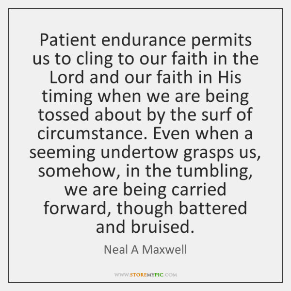 Patient endurance permits us to cling to our faith in the Lord ...