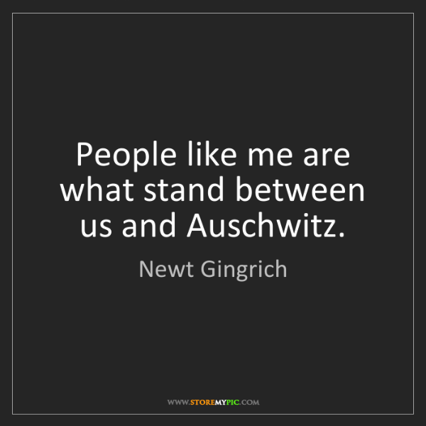 Newt Gingrich: People like me are what stand between us and Auschwitz.
