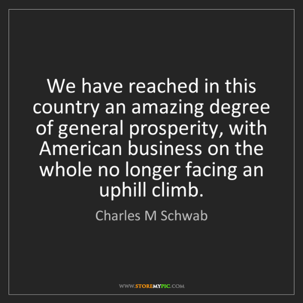Charles M Schwab: We have reached in this country an amazing degree of...