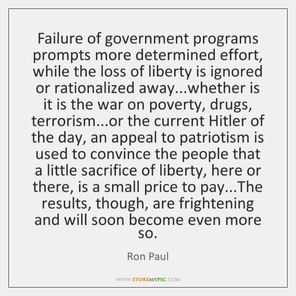 Failure of government programs prompts more determined effort, while the loss of ...