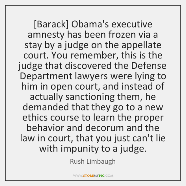 [Barack] Obama's executive amnesty has been frozen via a stay by a ...