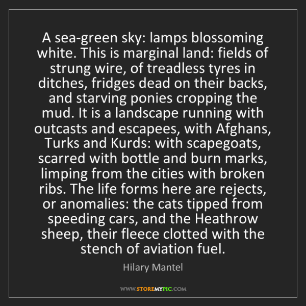 Hilary Mantel: A sea-green sky: lamps blossoming white. This is marginal...