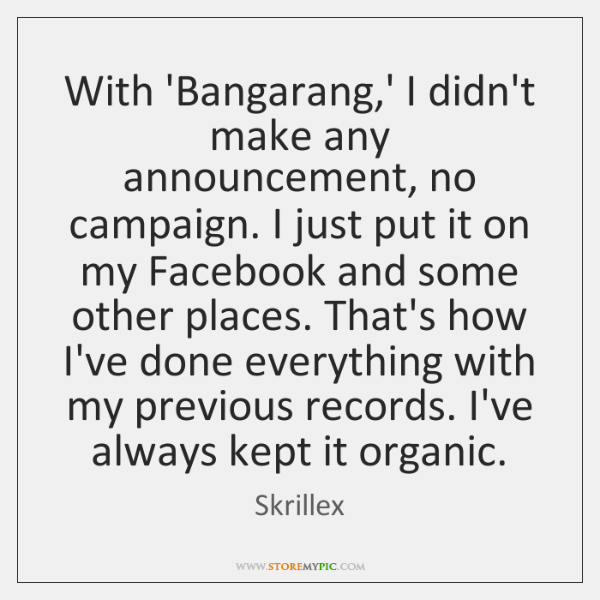 With 'Bangarang,' I didn't make any announcement, no campaign. I just ...