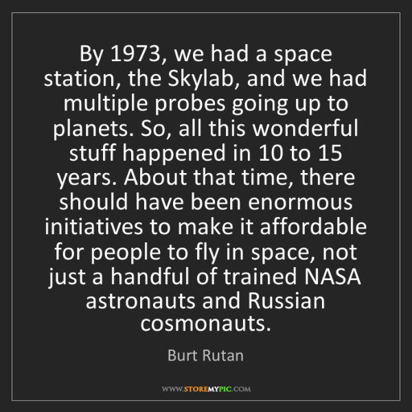 Burt Rutan: By 1973, we had a space station, the Skylab, and we had...
