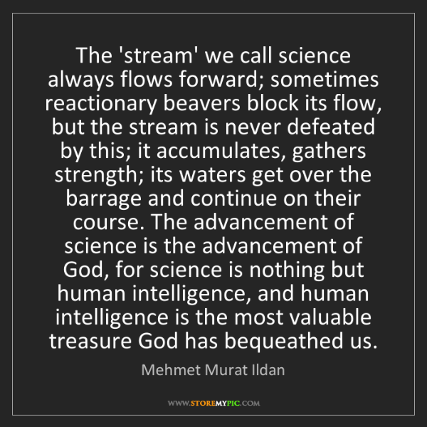 Mehmet Murat Ildan: The 'stream' we call science always flows forward; sometimes...