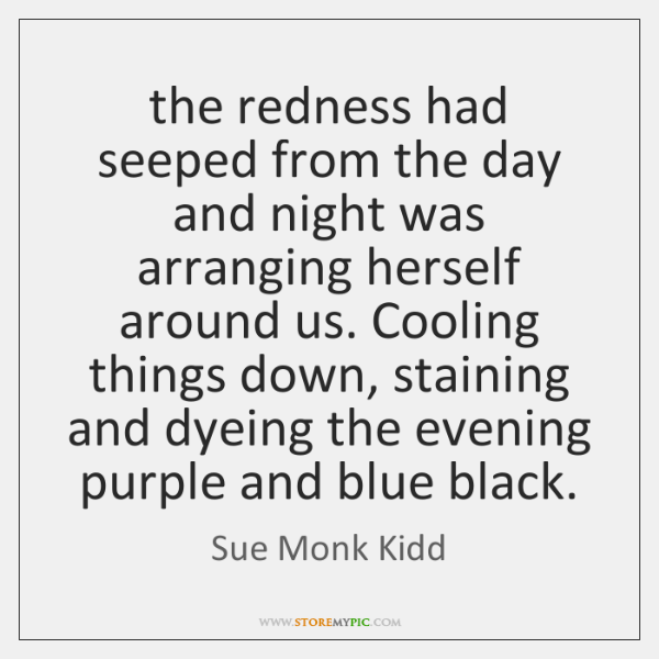 the redness had seeped from the day and night was arranging herself ...