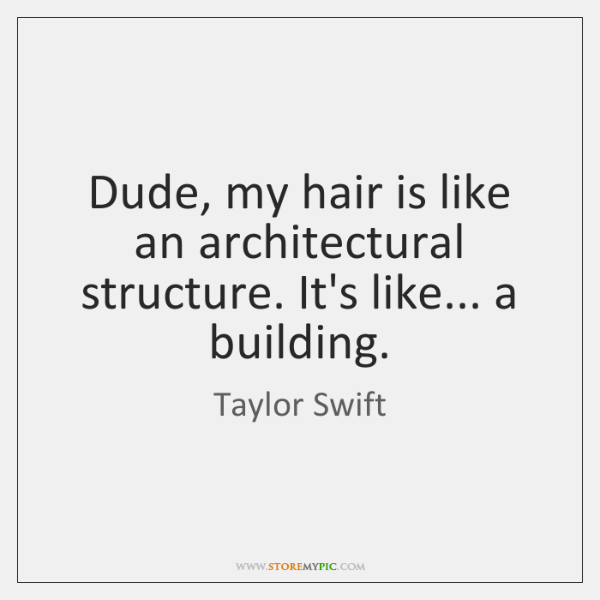 Dude, my hair is like an architectural structure. It's like... a building.