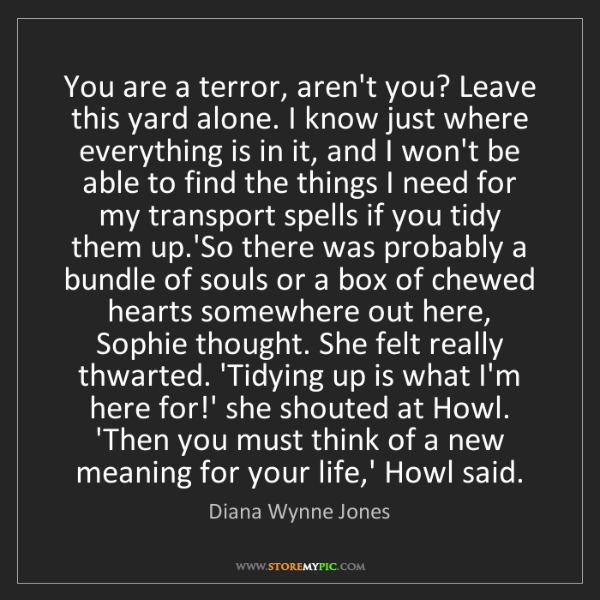Diana Wynne Jones: You are a terror, aren't you? Leave this yard alone....