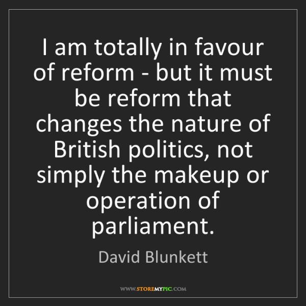David Blunkett: I am totally in favour of reform - but it must be reform...