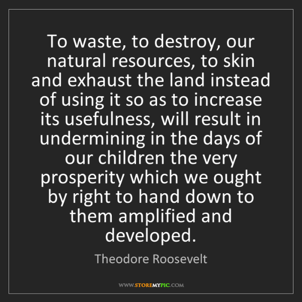 Theodore Roosevelt: To waste, to destroy, our natural resources, to skin...