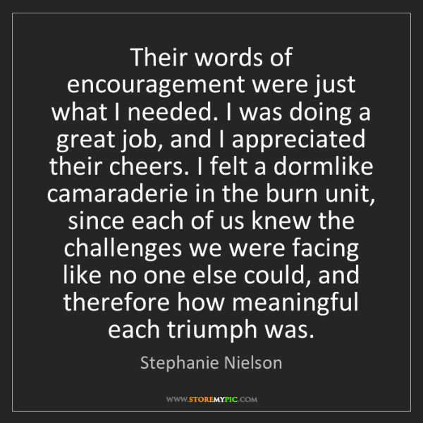 Stephanie Nielson: Their words of encouragement were just what I needed....