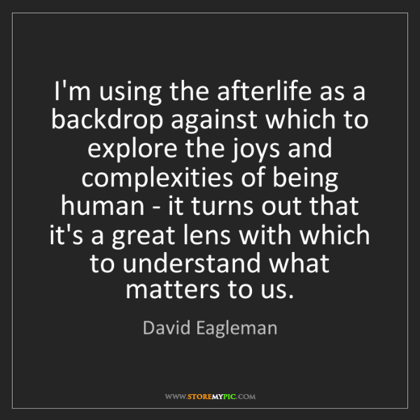David Eagleman: I'm using the afterlife as a backdrop against which to...