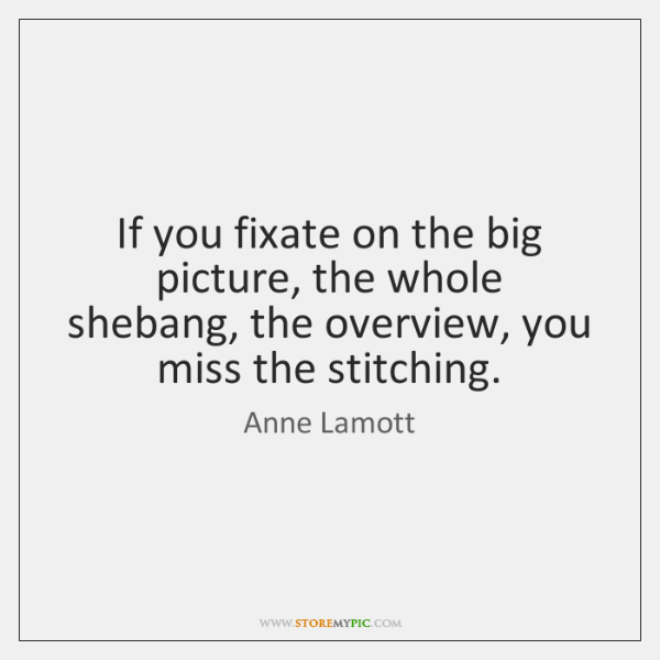 If you fixate on the big picture, the whole shebang, the overview, ...