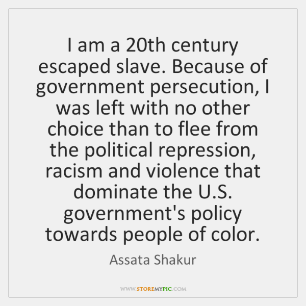 I am a 20th century escaped slave. Because of government persecution, I ...