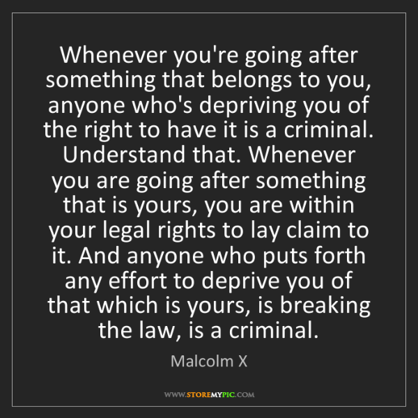 Malcolm X: Whenever you're going after something that belongs to...