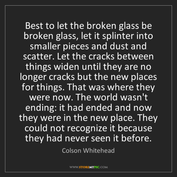 Colson Whitehead: Best to let the broken glass be broken glass, let it...