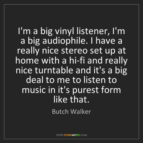 Butch Walker: I'm a big vinyl listener, I'm a big audiophile. I have...