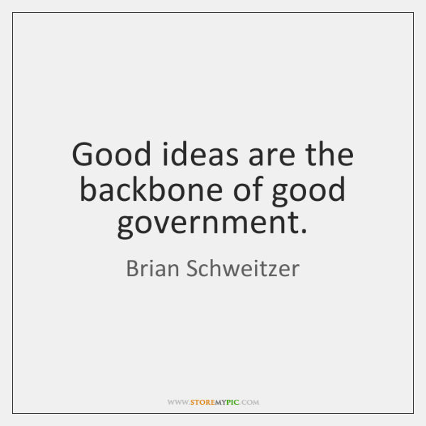 Good ideas are the backbone of good government.