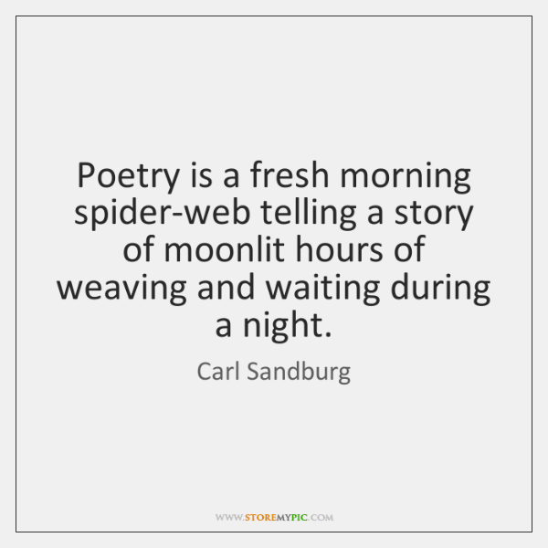 Poetry is a fresh morning spider-web telling a story of moonlit hours ...