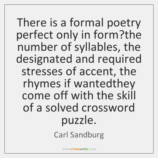 There is a formal poetry perfect only in form?the number of ...